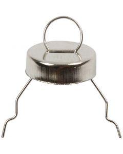 Gancio per decorazioni, diam: 13 mm, misura buco 5 mm, argento, 25 pz/ 1 conf.