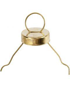 Gancio per decorazioni, diam: 13 mm, misura buco 5 mm, oro, 25 pz/ 1 conf.