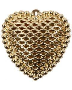 Cuore, misura 28x29 mm, misura buco 1 mm, placcato oro, 1 pz