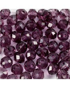 Perline sfaccettate, diam: 4 mm, misura buco 1 mm, viola, 45 pz/ 1 filo