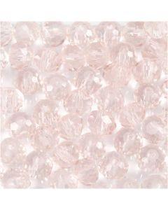 Perline sfaccettate, diam: 4 mm, misura buco 1 mm, rosato chiaro, 45 pz/ 1 filo