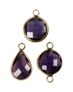 Ciondolo da gioielleria, H: 15-20 mm, misura buco 2 mm, viola, 1 conf.