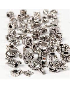Fashion Links, diam: 7-18 mm, misura buco 4 mm, il contenuto può variare , argento antico, 100 g/ 1 conf.
