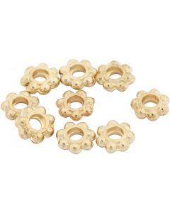 Perle spaziatrici, diam: 6 mm, misura buco 2 mm, placcato oro, 100 pz/ 1 conf.