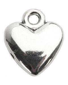 Pendente a forma di cuore, misura 13x15 mm, placcato argento, 10 pz/ 1 conf.