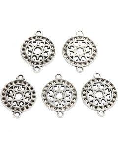 Ciondolo per gioielli, diam: 14 mm, misura buco 1,2 mm, placcato argento, 5 pz/ 1 conf.