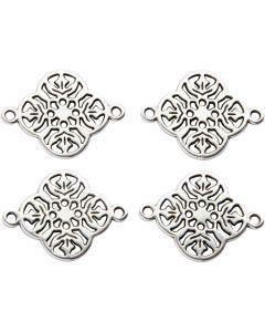 Ciondolo per gioielli, diam: 15 mm, misura buco 1,2 mm, placcato argento, 4 pz/ 1 conf.