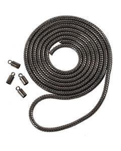 Catena snake, diam: 3,1 mm, grigio scuro metallico, 1 m
