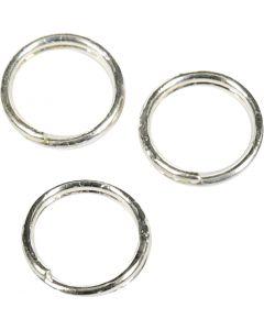 Anelli apribili, diam: 5 mm, placcato argento, 30 pz/ 1 conf.