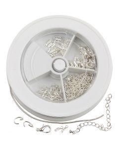 Assortimento minuteria gioielli, placcato argento, 1 set