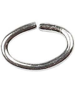 Anelli apribili ovali, spess. 0,7 mm, placcato argento, 50 pz/ 1 conf.