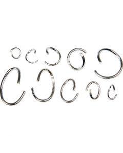 Anelli apribili ovali e rotondi - assortimento, placcato argento, 800 asst./ 1 conf.