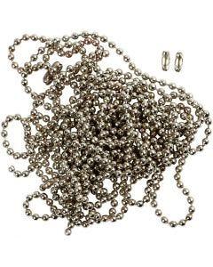 Catenina per gioielli, diam: 1,5 mm, placcato argento, 3 m/ 1 rot.