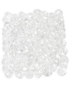 Perline sfaccettate, misura 3x4 mm, misura buco 0,8 mm, cristallo, 100 pz/ 1 conf.