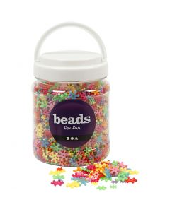 Perline in plastica forme originali, diam: 7-13,5 mm, misura buco 2 mm, colori asst., 700 ml/ 1 vasch., 270 g