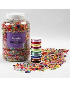 Perline in plastica e cordino elastico per gioielli, misura 6-20 mm, misura buco 1,5-6 mm, 1 conf.