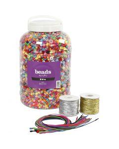 Secchiello con perline in plastica, cordino elastico e braccialetti, misura 6-20 mm, misura buco 1,5-6 mm, colori asst., 1 set