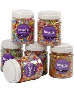 Mix perline, misura 7-10 mm, misura buco 2-4 mm, 2400 g, colori asst., 6x700 ml/ 1 conf.