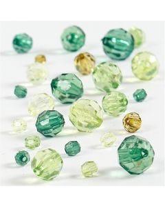 Mix perline sfaccettate, misura 4-12 mm, misura buco 1-2,5 mm, verde glitter, 45 g/ 1 conf.