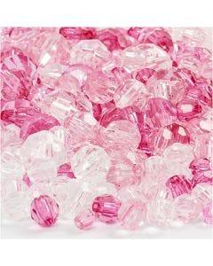 Mix perline sfaccettate, misura 4-12 mm, misura buco 1-2,5 mm, pink (081), 250 g/ 1 conf.