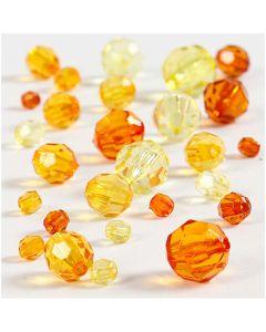 Mix perline sfaccettate, misura 4-12 mm, misura buco 1-2,5 mm, giallo (32227), 45 g/ 1 conf.