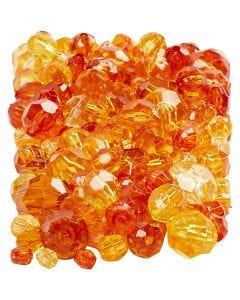 Mix perline sfaccettate, misura 4-12 mm, misura buco 1-2,5 mm, giallo (32227), 250 g/ 1 conf.