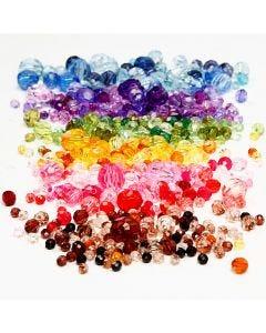 Mix perline sfaccettate, diam: 4-12 mm, misura buco 1-2,5 mm, colori asst., 7x250 g/ 1 conf.