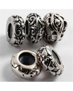 Perline di metallo, diam: 10 mm, misura buco 2 mm, placcato argento, 10 pz/ 1 conf.