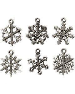 Fiocco di neve, H: 20 mm, misura buco 1,5 mm, argento antico, 18 asst./ 1 conf.