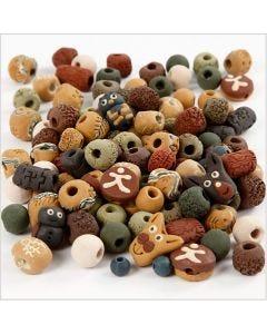 Perline di ceramica, misura 7-18 mm, misura buco 2-4 mm, colori asst., 300 g/ 1 conf.