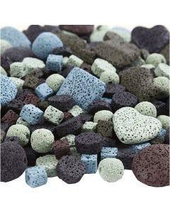Mix perline lava, misura 6-37 mm, misura buco 1+2 mm, il contenuto può variare , colori asst., 20 fili/ 1 conf.