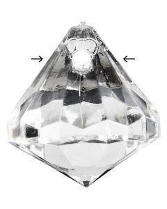 Perline acriliche, misura 17x16 mm, misura buco 1,2 mm, lucido trasparente, 43 pz/ 1 conf.
