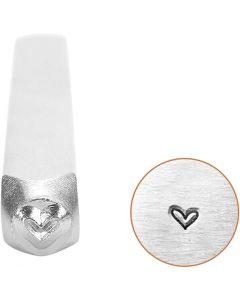 Timbro per embossing, cuore, L: 65 mm, misura 3 mm, 1 pz