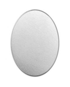 Targhetta in metallo, ovale, misura 18x13 mm, spess. 1,3 mm, aluminium, 15 pz/ 1 conf.