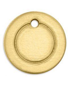 Targhetta in metallo, anello, diam: 13 mm, misura buco 1,85 mm, spess. 1 mm, ottone, 11 pz/ 1 conf.