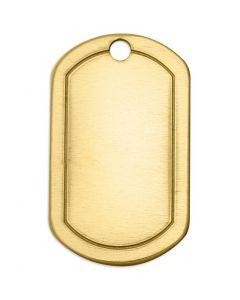 Targhetta in metallo, quadrata, misura 32x20 mm, misura buco 2,85 mm, spess. 1 mm, ottone, 4 pz/ 1 conf.