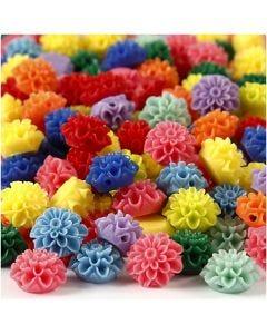 Perline fiore, misura 15x8 mm, misura buco 1,5 mm, colori asst., 10x25 pz/ 1 conf.