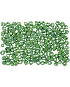 Perline rocaille, diam: 3 mm, misura 8/0 , misura buco 0,6-1,0 mm, verde, 500 g/ 1 conf.