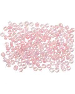 Perline rocaille, diam: 3 mm, misura 8/0 , misura buco 0,6-1,0 mm, centro rosa, 500 g/ 1 conf.
