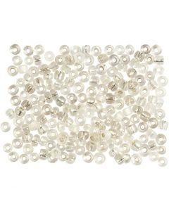Perline rocaille, diam: 3 mm, misura 8/0 , misura buco 0,6-1,0 mm, argento, 500 g/ 1 conf.