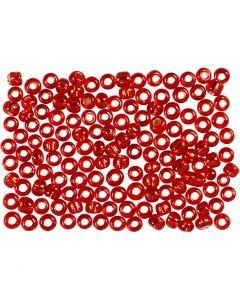 Perline rocaille, diam: 3 mm, misura 8/0 , misura buco 0,6-1,0 mm, rosso metallico, 500 g/ 1 conf.
