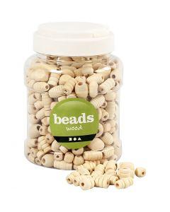 Perline di legno, misura 5-28 mm, misura buco 2,5-3 mm, 400 ml/ 1 secch., 175 g