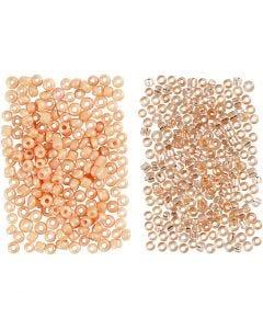 Perline rocaille, diam: 1,7 mm, misura 15/0 , misura buco 0,5-0,8 mm, pesca, pesca chiaro, 2x7 g/ 1 conf.