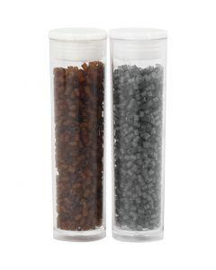 2-cut, diam: 1,7 mm, misura 15/0 , misura buco 0,5 mm, marrone, grigio transparent, 2x7 g/ 1 conf.