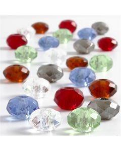 Perline in vetro, misura 9x14 mm, misura buco 4 mm, colori asst., 24 asst./ 1 conf.