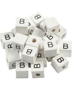 Perlina lettera, B, misura 8x8 mm, misura buco 3 mm, bianco, 25 pz/ 1 conf.