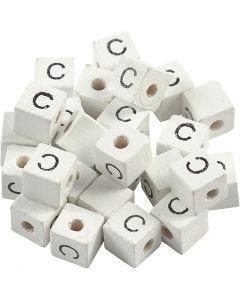 Perlina lettera, C, misura 8x8 mm, misura buco 3 mm, bianco, 25 pz/ 1 conf.