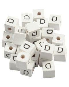Perlina lettera, D, misura 8x8 mm, misura buco 3 mm, bianco, 25 pz/ 1 conf.
