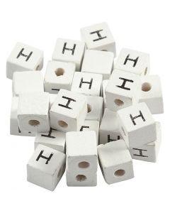 Perlina lettera, H, misura 8x8 mm, misura buco 3 mm, bianco, 25 pz/ 1 conf.