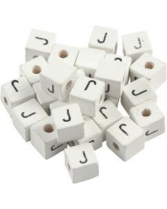 Perlina lettera, J, misura 8x8 mm, misura buco 3 mm, bianco, 25 pz/ 1 conf.